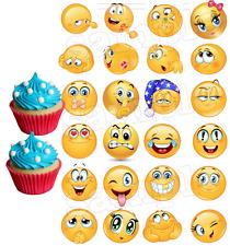 24 Muffin/ Cupcake Smiley Emoji Gateau Disque Azyme Comestible Anniversaire