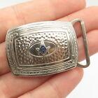925 Sterling Silver Vintage Enamel Masonic Symbol Belt Buckle