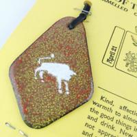 Enamel Taurus Pendant Necklace Vintage Zodiac Jewellery Handmade