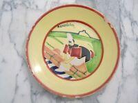 René Olichon assiette faience décor bretonne Lavandière époque Art Déco 1930