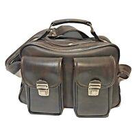 Marsand Vintage Dark Brown Leather Video Photo Camera Bag Multipockets