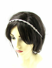 Silver Bridal Headpiece Hair Vine Headband Diamante Rhinestone Vtg Wedding 2332