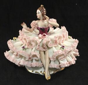 2 pcs Dresden Porcelain Roses Sign Vintage 1950 Karl Ens Volkstedt  Germany Deutche Porzellan Pink Figurine card holders Set of 2