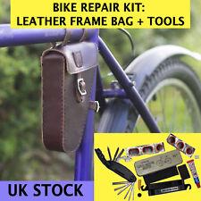 Set di riparazione bici Piccola CORNICE in Pelle Borsa, Multi-Tool, forare riparazione KIT Cherry