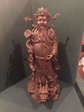 """Chinese bronze statue of an immortal  20"""" tall, dragon at base, fine detail"""
