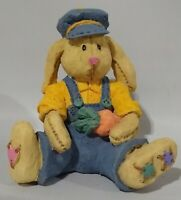 """Vintage Easter Polystone Boy Patched Bunny Rabbit Figurine - 2 1/2"""" Spring Decor"""