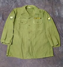 VTG Green US Army Button Up Military Issued Shirt Patches Mens Size 15 1/2 x 32