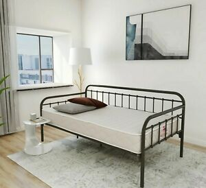 Twin Bed Solid Metal Daybed Frame Stable Steel Slats Platform Base Bed Sofa Room