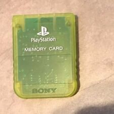 Playstation 1 Official Sony Brand memory card in Clear Lime Green color one