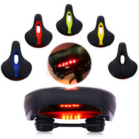 Over Size Comfortable Saddle Soft Seat MTB Bike Bicycle Cycling W LED Tail Light