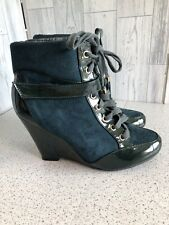 Sergio Todzi Green Suedette & Patent Lace Up Wedge Heel Ankle Boots Uk6