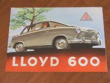 c1956 Lloyd 600 range original foldout brochure