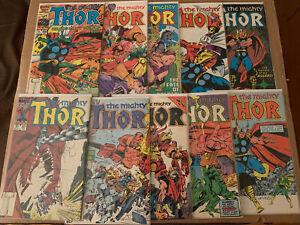 Thor Vol 1  Lot of 10 Marvel #361 362 363 364 365 366 367 368 369 370  Throg
