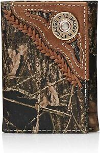 Nocona Mens Shotgun Shell Concho Camo Print Trifold Leather Wallet
