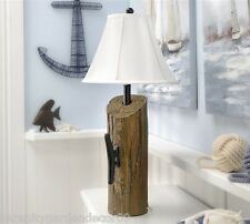 """29"""" Nautical Dock Post Design Distressed Look Table Lamp w White Polyester Shade"""