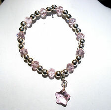 'AAA' GRADE PINK CRYSTAL GLASS BEADED STRETCH STAR CLIP CHARM BRACELET
