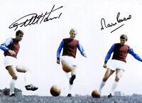 Geoff Hurst & Martin Peters West Ham SIGNED Photo AFTAL