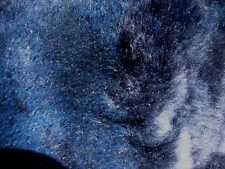 sheepskin leather hide pelt Medium length silky haired Dark Blue