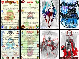 Nintendo Music Game Art Skyrim Bioshock Kratos 11 x 17 (8) High Quality Posters
