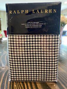 2 NEW Ralph Lauren Screening Room Mattea King Pillowcases Houndstooth Navy Cream