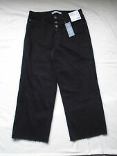 Next Relaxed High Rise Mid Denim Blue Raw Cut Ankle Jeans UK 14 Long