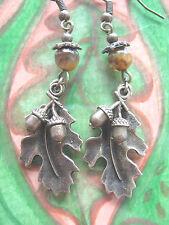 Bronze Oak Leaf & Acorns Earrings Tiger's Eye Gemstone Beads Hedgewitch Pagan