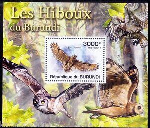 Burundi 2011 MNH Sheet, Owls, Marsh Owl, Birds of prey