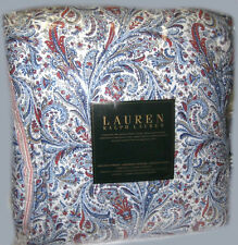 RALPH LAUREN Queen Comforter Bedding Set RED WHITE BLUE JACOBEAN