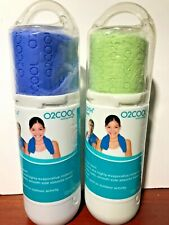 Lot of 2 Cooling Towel Cool for hours O2Cool ArctiCloth Sport Blue and Green New