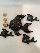 Vintage MCM Ceramicraft 4 Fish Set Black/Gold And Gold Bubbles