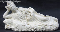 """16"""" Chinese Dehua Porcelain Sleeping Kwan-yin Guanyin Quan Yin Goddess Statue"""