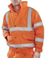 Hi Vis Bomber Jacket Constructor Safety Coat Waterproof Visibility Work Wear