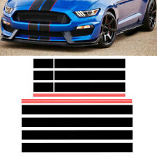 Black+Red Graphics Racing Stripe Hood Roof Trunk Decal Sticker For Audi Bmw