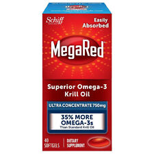 Schiff MegaRed superior omega-3 krill oil with concentrate 750 mg 40ct exp 03/20