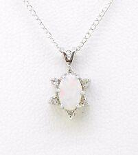 "Pendant 14k white gold oval opal 4x6 mm 6 dias 18"" light curb chain Oct stone"