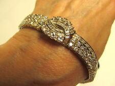 Estate Vintage 925 Sterling Silver 14K WG Vermeil CZ Dia Bracelet Unused