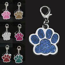 Glitter Paw Print Pet Id Tags Dog Cat Tag Personalized Footprint Collar Charms