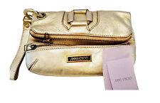 SALE!! Genuine Jimmy Choo Leather Gold Clutch Bag strap original wallet medium