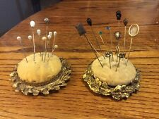 2~ Antique Pin Cushions And Variety Of Pins And Hat Pins