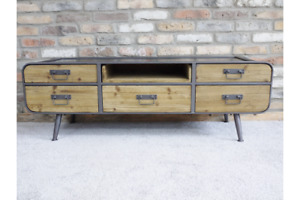 Retro Industrial Low Cabinet / Media Unit Metal with Wood Drawers and Shelving