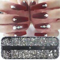 12 Box Mixed Size Crystals AB Shiny Diamond Gems Rhinestones Nail Art Decoration