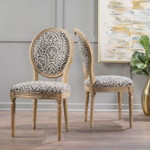 Phinnaeus French Country Fabric Dining Chairs (Set of 2)
