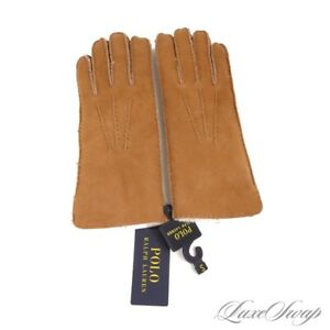 NWT $225 Polo Ralph Lauren Tan Sheepskin Shearling Fur Lined Ranch Gloves NR S