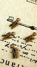 Alphabet letter N charm bronze vintage style jewellery supplies C32