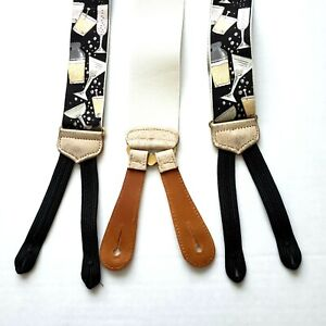 TRAFALGAR Limited Edition Suspenders Braces Cocktails Party Print Silk Leather