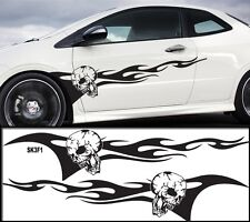 """Universal Car Skull Flames Pinstripe Racing Side Graphics Decals 58""""X12""""  SK3f1"""