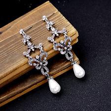 "Nuevo Elegante Aspecto Vintage Zara Perlas Blancas 3 1/4"" Gota Colgantes Pendientes de novia"