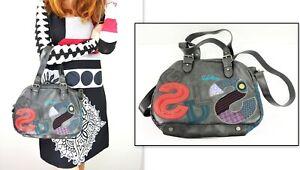 DESIGUAL #26x5058 Bols Twist Letras Gray Handbag w/ Shoulder Strap