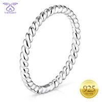 SEMAID Women Simple Twisted Rope Band 925 Sterling Silver Ring Size 6-11