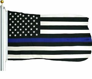 Thin Blue Line American Flag 3x5 US Black & White Police Policemen Support 150D